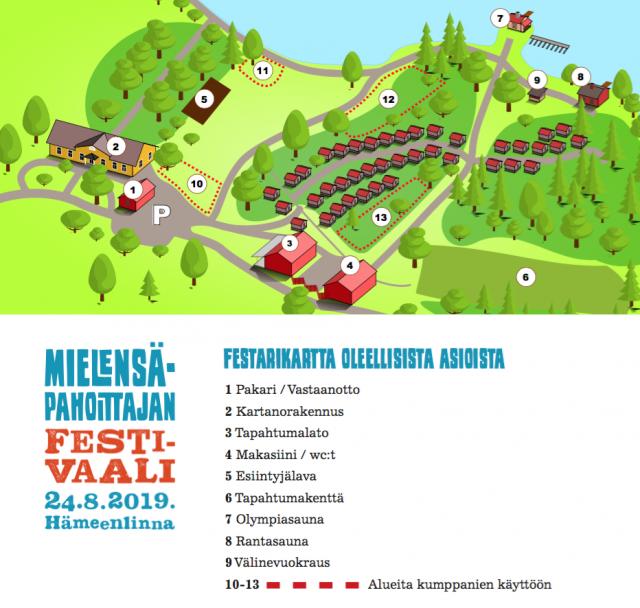 Festivaali alueen kartta